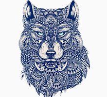 Blue Tones Detailed Wolf Head Illustration Art Unisex T-Shirt