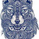 Blue Tones Detailed Wolf Head Illustration Art by artonwear