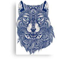 Blue Tones Detailed Wolf Head Illustration Art Canvas Print