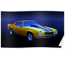 1971 Z28 Camaro Yellow Poster