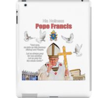 His Holiness Pope Francis 2015-prayer card with doves version 4 iPad Case/Skin