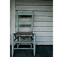 Blue chair on porch Photographic Print