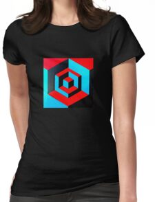 Hand-painted space cube design Womens Fitted T-Shirt