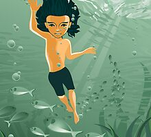 boy exploring underwater by Anastasiia Kucherenko