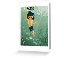 boy exploring underwater Greeting Card