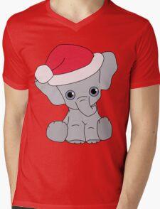 Christmas Elephant Mens V-Neck T-Shirt