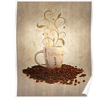 Grunge cup off coffee Poster