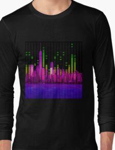 DJ NYC NY Skyline Sound Bar Meter Music Engineering Long Sleeve T-Shirt