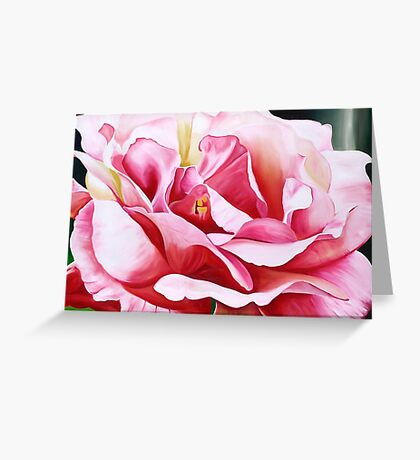 Rose Petals - vibrant oil painting of an English rose Greeting Card
