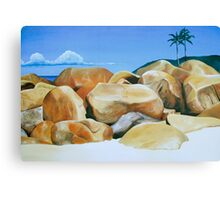 Los Gemelos - oil painting of rocks on a Mexican beach Canvas Print