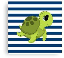 Sea Turtle Blue White Nautical Stripes Canvas Print