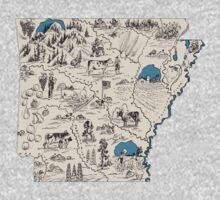 Arkansas Vintage Picture Map One Piece - Short Sleeve