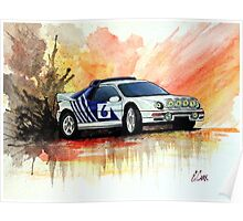 Ford RS200 Rally Car Gouache Painting Poster