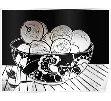 My Gorgeous Fruit Bowl - Linocut Poster