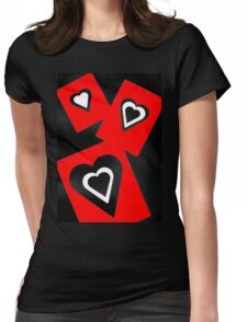 Hearts in Black Red and White  Womens Fitted T-Shirt