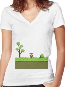 Duck Hunt Dog Women's Fitted V-Neck T-Shirt