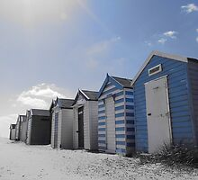 Blue beach huts, Southwold, Suffolk by theresa knox