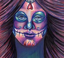 Serenity-Mixed Media Drawing of a Day of the Dead Girl by KLoganArt