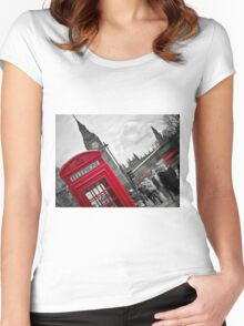 Telephone Booth in London Women's Fitted Scoop T-Shirt