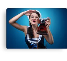 """""""Pose just like this"""" Pin-up Girl Canvas Print"""