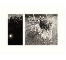 Two Dogs at Night Art Print