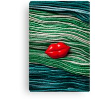 Red Lips On Yarn Canvas Print