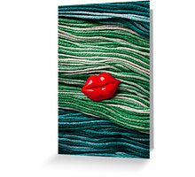 Red Lips On Yarn Greeting Card