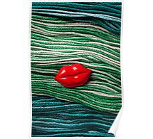 Red Lips On Yarn Poster
