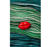 Red Lips On Yarn Photographic Print