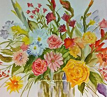 Flowers in a vase by ArtbyInese2015