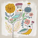 Folk Birds and Flowers by HappyDoodleLand