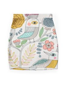 Folk Birds and Flowers Mini Skirt