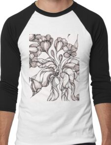 floral seamless pattern with hand drawn flowering crocus Men's Baseball ¾ T-Shirt