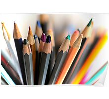 Fan of coloured pencils Poster
