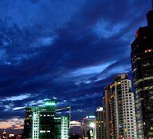 Afterglow in CBD of Beijing by Winningsnow