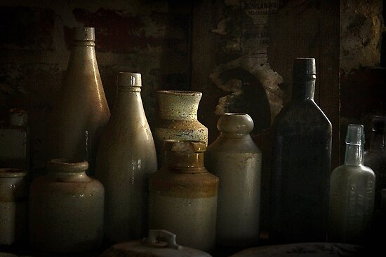 Antique bottles by Rosalie Dale