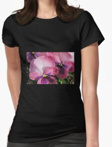 Pink Pansies Macro Womens Fitted T-Shirt