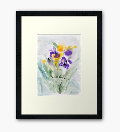 Irises in aqua Framed Print