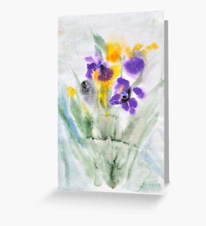 Irises in aqua Greeting Card