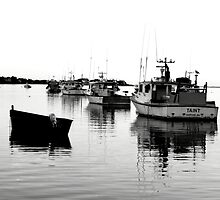 b&w fishing boats in Chatham by apsjphotography