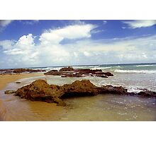 Rock, Sand and Water, Puerto Rico Photographic Print
