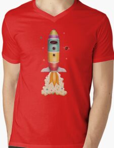 Rocket to Outer Space Mens V-Neck T-Shirt