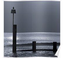 Groyne on Bournemouth beach at dusk Poster