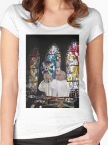 Catholic DJ Earth Pope Francis Turntable EDM Women's Fitted Scoop T-Shirt