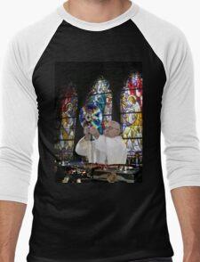 Catholic DJ Earth Pope Francis Turntable EDM Men's Baseball ¾ T-Shirt