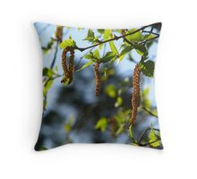 Birch Tree Catkins Throw Pillow