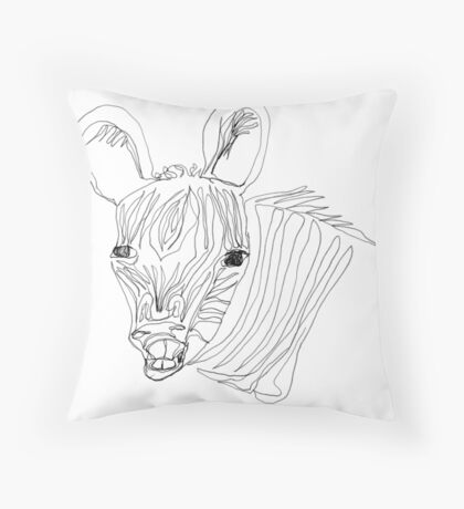 I think this zebra is laughing at me Throw Pillow