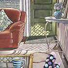 Sunlit interior with coffee and feet by Ann Nightingale
