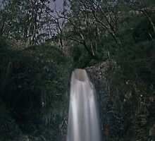 Second Falls in Moonlight - Frontal View by PABarrattArt