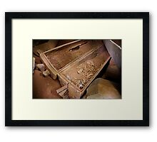 Prehistoric skeletal remains in teak coffin, Thailand Framed Print
